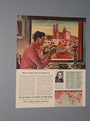 1946 National City Bank Of Ny Ad Mexico Mexican Silver Art By Peter Hurd