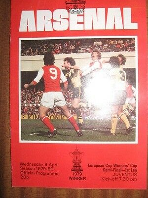 ARSENAL v JUVENTUS 9th April 1980 EUROPEAN CUP WINNERS CUP SEMI FINAL