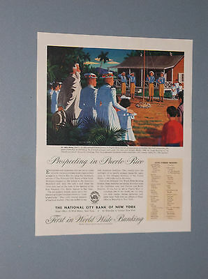 1945 National City Bank Of Ny Ad Trade With Puerto Rico & Dr. John Eaton