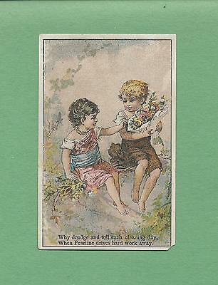 Adorable LITTLE GIRLS On PYLE'S PEARLINE LAUNDRY SOAP Victorian Trade Card