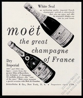 1950 Moet & Chandon Dry Imperial White Seal champagne bottle vintage print ad
