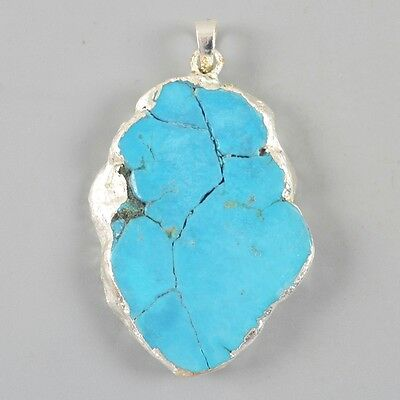 Blue Howlite Turquoise Pendant Bead Silver Plated B027908