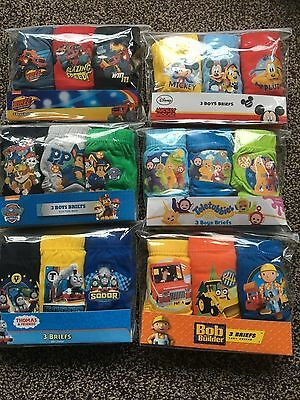 3 X BOYS CHARACTER BRIEFS  Blaze,Mickey Mouse,Thomas The Tank,Teletubbies 18-24m
