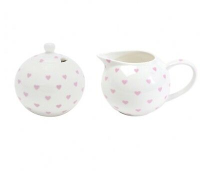 Bombay Duck Bisous Hearts Sugar Bowl and Milk Jug Gift Set Pale Pink and White