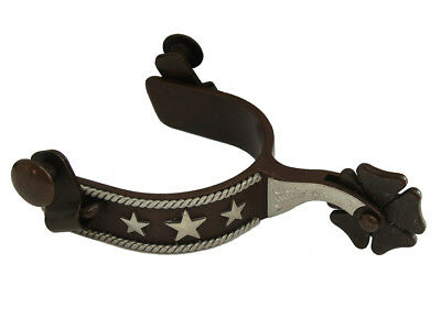Twisted Rope Silver Stars Mens Western Horse Show Spurs Clover Leaf Rowels