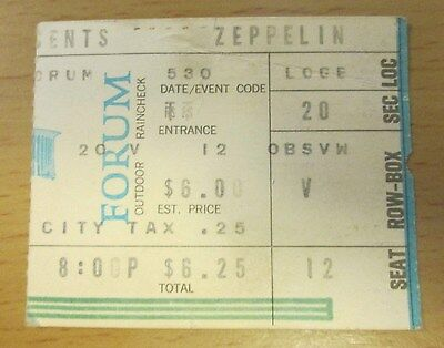 1973 Led Zeppelin Los Angeles Concert Ticket Stub Robert Plant Jimmy Page