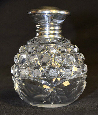 "1937 hallmarked silver & Crystal perfume bottle with applicator, 3 1/2"" tall(T2)"