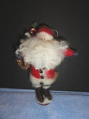 Ram's Horn Connection  Small Santa Christmas Decoration Wool Ornament