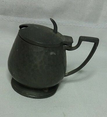 Vintage Pewter Mustard Pot with Blue Glass insert