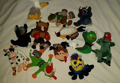 "Lot of 12 Beanie Meanies Plush Gag Gift Toy 8"" Series 1& 2 & Famous!"