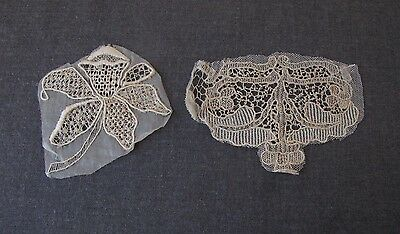 2 Antique Embroidery Lace Appliques For Repurpose   #b