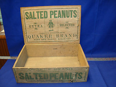 Antique Wood Box QUAKER SALTED PEANUTS Advertising Crate General Store Display