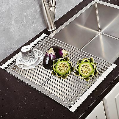 New Over the Sink Roll Up Dish Drying Rack Stainless Steel Colander Dish Drainer