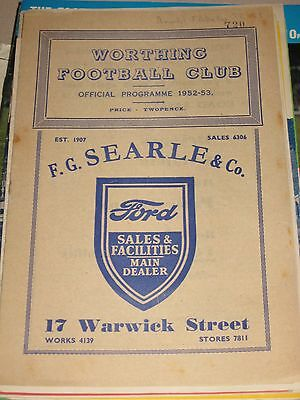 1952-53 Worthing v Arundel FA Amateur Cup Preliminary Round 20.9.1952