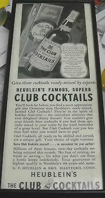 Vintage Heublein's Holiday Greetings Club Cocktails Bar Sign Framed