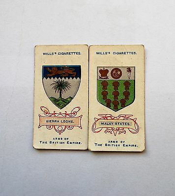 2 WILLS CIGARETTE CARDS ARMS OF THE BRITISH EMPIRE NOs. 29 & 45
