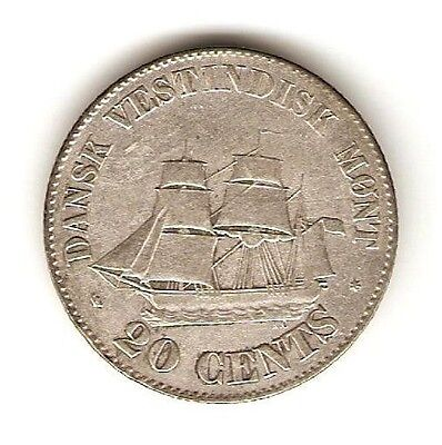 1859 Danish West Indies Silver Coin 20 Cents - Frederik VII - KM# 67 - SCARCE
