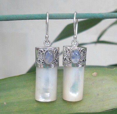 925 Sterling Silver-Balinese Mop Shell Earring With Rainbow Moonstone