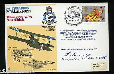 1974 Battle of Britain  RAF Cover Signed C A L Hurry 43 Sqn Battle of Britain
