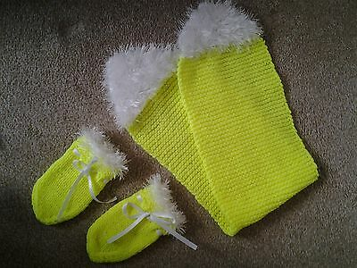 Baby mittens and scarf hand knitted fluorescent