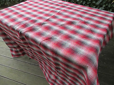 "Unused  German 1900   Checkered  Duvet Cover  Linen Plaid Fabric 61 ""by 72 """