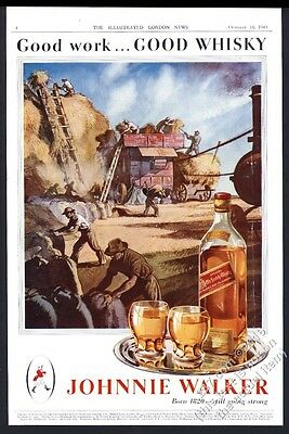 1943 Johnnie Walker Scotch whisky farm hay harvest art UK vintage print ad