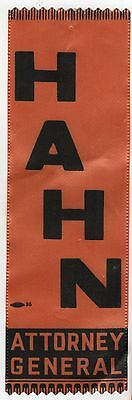 1966 ROBERT HAHN Massachusetts Attorney General CAMPAIGN Political RIBBON Boston