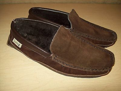 Mens~Brown Leather~Bearpaw~Slippers~Moccasins~House Shoes~10~