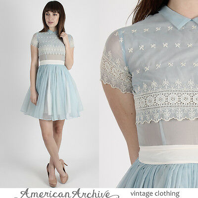 Vintage 50s Pale Blue Dress Floral Embroidered Sheer Wedding Cocktail Party Mini