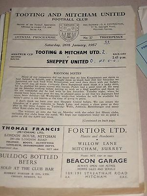 1956-57 Tooting & Mitcham Utd v Sheppey United FA Amateur Cup 2nd round 26.1.57