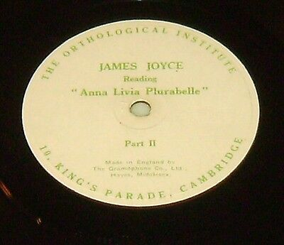 "James Joyce Reads Anna Livia Plurabelle - 12"" 78 + Booklet Ortholigal Institute"