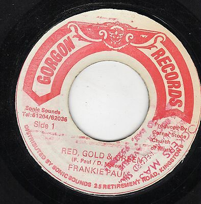 """ RED, GOLD & GREEN. "" frankie paul. GORGAN RECORDS 7in 1983."