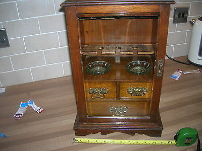 OAK SMOKERS  CABINET 1920s/30s  17ins (43cm) high x 10ins (26cm ) wide,Good Cond
