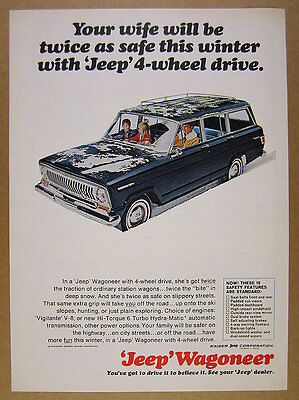 1965 Jeep Wagoneer blue truck driving in snow photo vintage print Ad