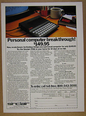 1982 Sinclair ZX81 Personal Computer photo vintage print Ad
