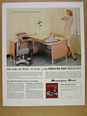 1960 Remington Rand Typing-Calculating Modular Desk Station vintage print Ad