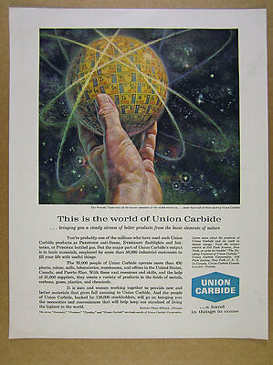 1960 periodic table elements chart art Union Carbide vintage print Ad