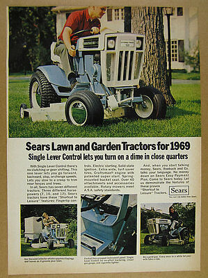 1969 Sears Hydro-Trac 12 Tractor color photo vintage print Ad