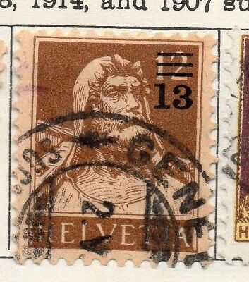 Switzerland 1915 Early Issue Fine Used 13c. Surcharged 133346