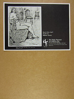 1980 Milton Avery 'nude & chairs' crayon drawing Mpls gallery vintage print Ad