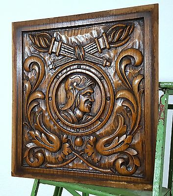 CARVED WOOD PANEL ANTIQUE FRENCH MAN GOTHIC SALVAGED CARVING FURNITURE DECOR a