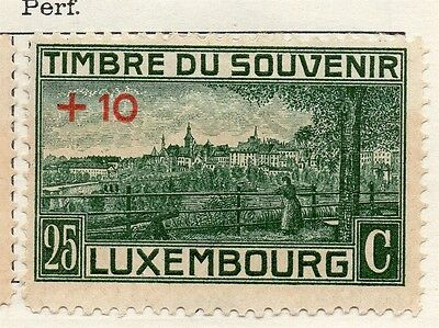 Luxembourg 1921 Early Issue Fine Mint Hinged 25c. +10 Surcharged 133891