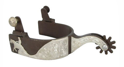Ladies Reining Horse Western Show Spurs Silver Engraving Antique Brown Color
