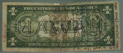WWII Short Snorter 1935A $1 Hawaii Silver Certificate  10 Signatures June 6,1945