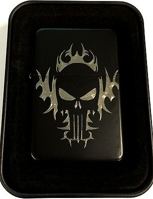 Tribal Flames Punisher Skull Black Engraved Cigarette Lighter Biker LEN-0217