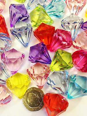 Large Acrylic Beads - Crystal Pendant 26mm Gems Pack Of 10 Mixed Colours