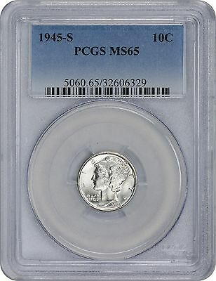 1945-S  Mercury Dime MS65 PCGS