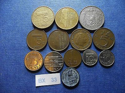 Netherlands. 13 Pre-Euro Coins (1942-2000)#bx33