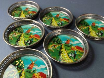 Vintage art deco glass/chrome drinks coaster set x 6 -backpainted windmill scene