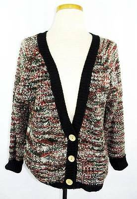 Women's Urban Day Black/Gray/Red/Wht Loose Knit Deep V LS Cardigan Sweater S/M